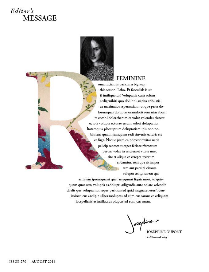 lettrine adobe indesign typographie magazine design remplir avec image - Typographie