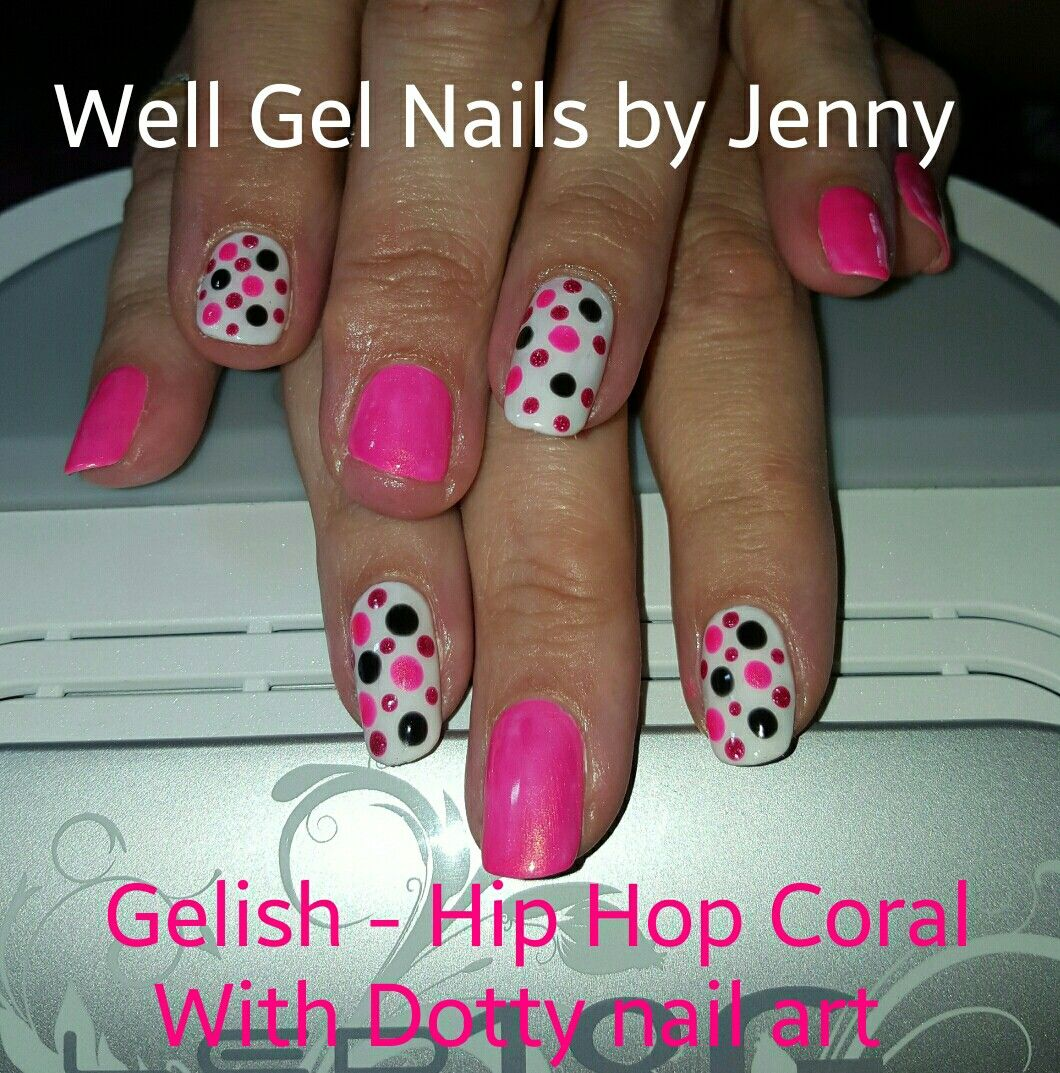 Gelish Hip Hop Coral And Dotty Nail Art Well Gel Nails By Jenny