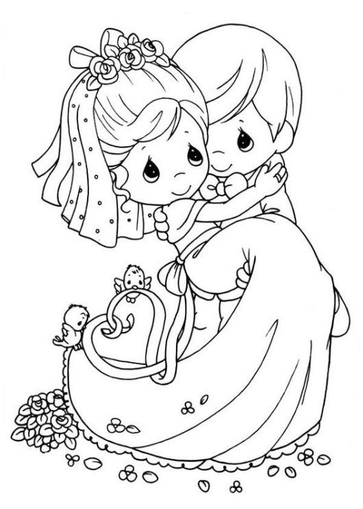 bride and groom special and romantic moment coloring pages ...