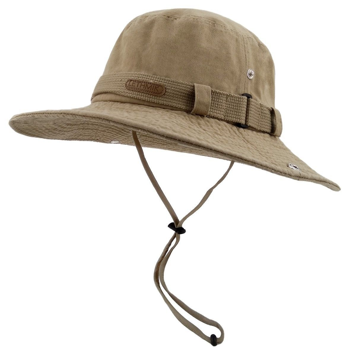 c85784670e1ff Fishing Sun Boonie Hat Summer UV Protection Cap Outdoor Hunting Hat - Khaki  (Washed Cotton