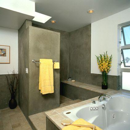 appealing modern bathroom tile designs   Glass shower doors are expensive. Clients often get ...