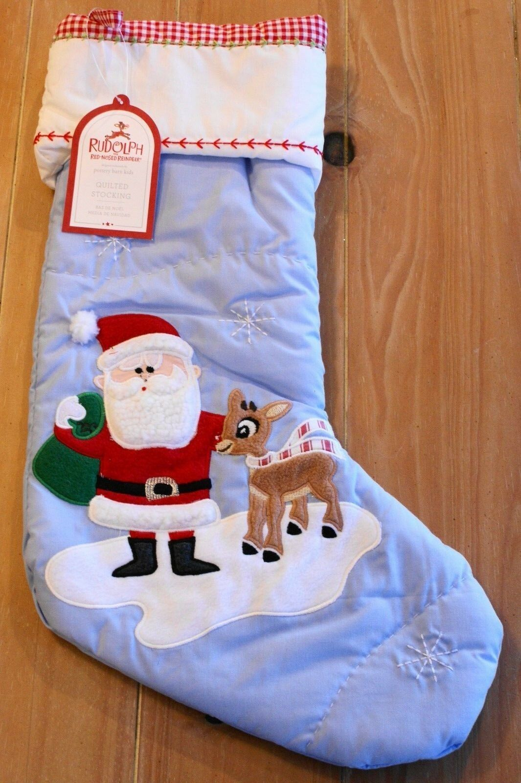 Pottery Barn Kids Red Gingham Christmas Holiday Stocking NEW