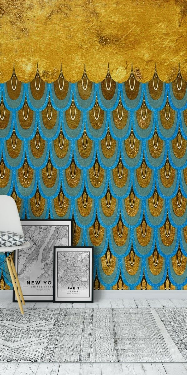 Golden Teal Mermaid Scales Wall Mural / Wallpaper Patterns