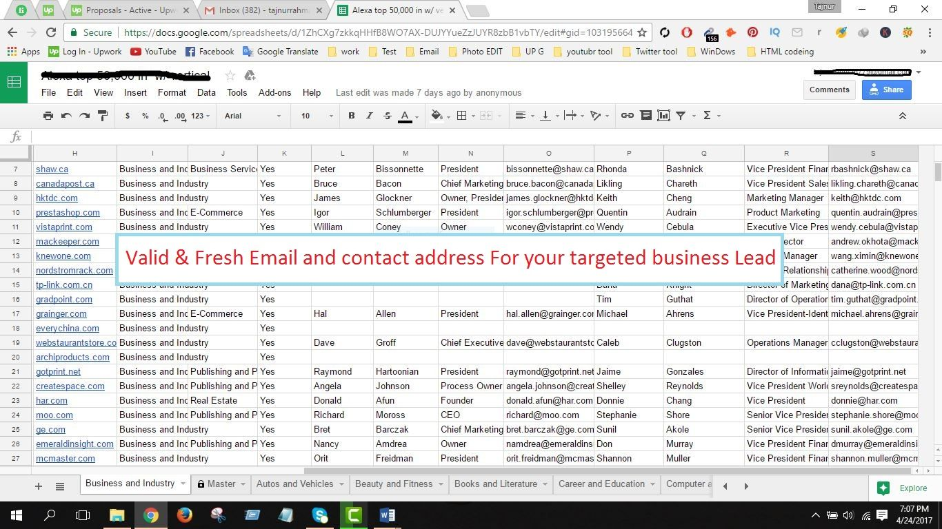 Check it out! I will lead generation for your targeted business for $5 on #Fiverr https://www.fiverr.com/s2/9a36c73b4e  Hi :), First of all, I'm a professional expert and I have a lot of experience doing these type of work. So, I can provide you top quality Lead Generation and email sourcing according to your instructions.  Usually, I provide: * Company Name * Email Address  * Contact Name * Title * Web Address  * Phone Number  * Full Address * Fax Number * Social Site * Linkedin Profile…