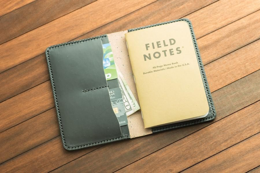 BLACK LEATHER FIELD NOTE COVER WITH POCKETS  - field note