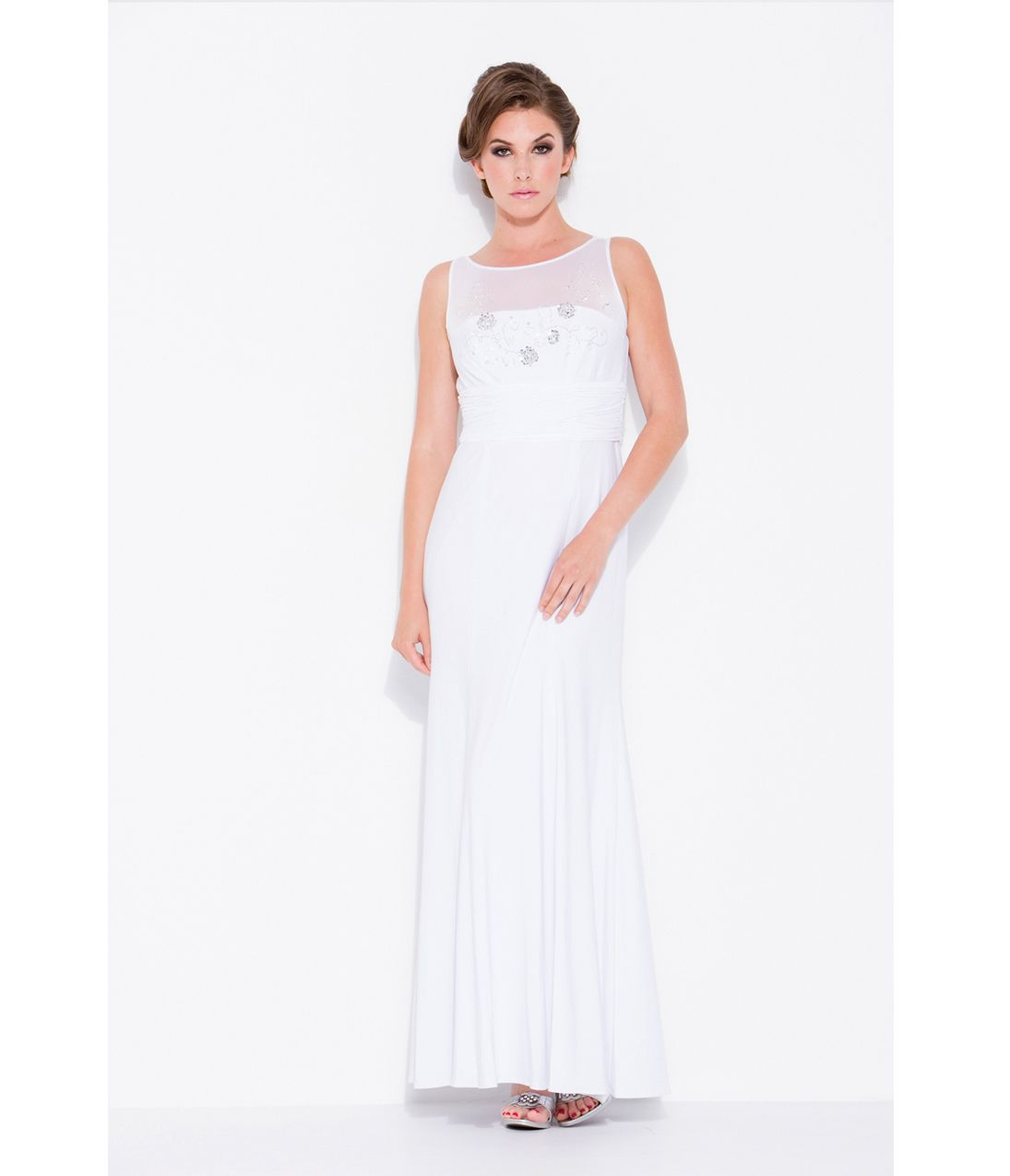 prom dresses white shear chiffon modest prom dress unique