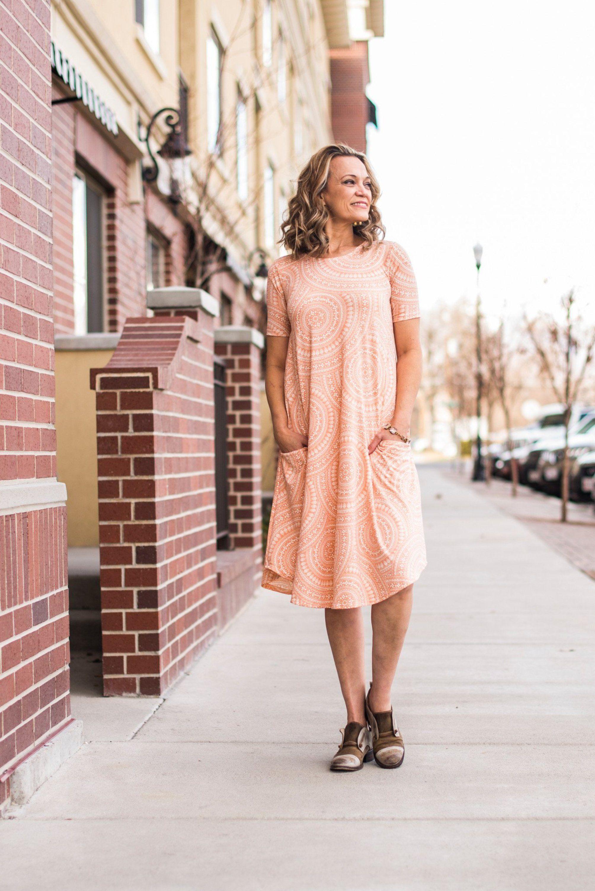 050b3f42e873 Peach Circles April Dress | Denim & Navy Fashion | Modest Clothing for  Teens &