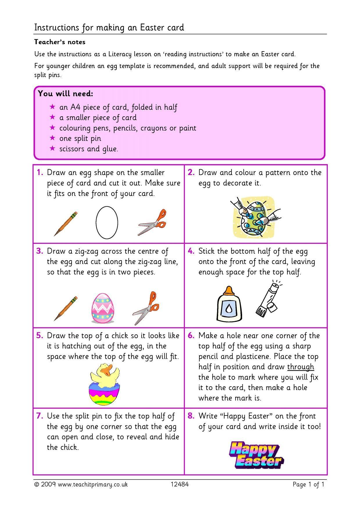Eyfs Ks1 Ks2 Instructions Teachit Primary Inside Regarding Easter Card Template Ks2 Cumed Org Easter Cards Card Template Templates