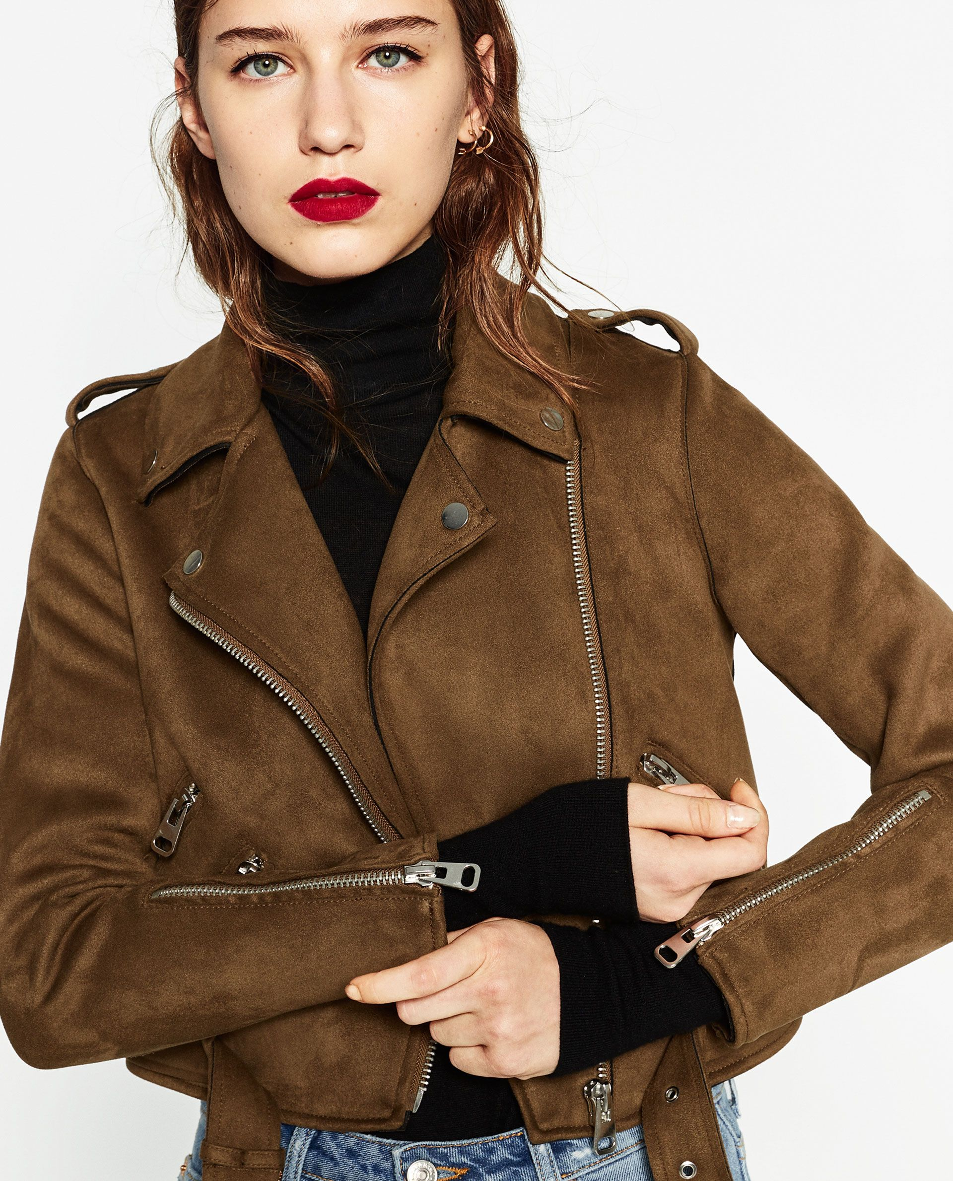 Blusão camurça (caqui) ZARA (49,95€) Fashion, Faux