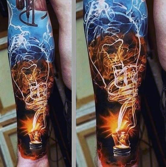 Forearm Sleeve Light Bulb Tattoos For Men | Jaw Dropping ... Harry Styles Inner Arm Tattoos