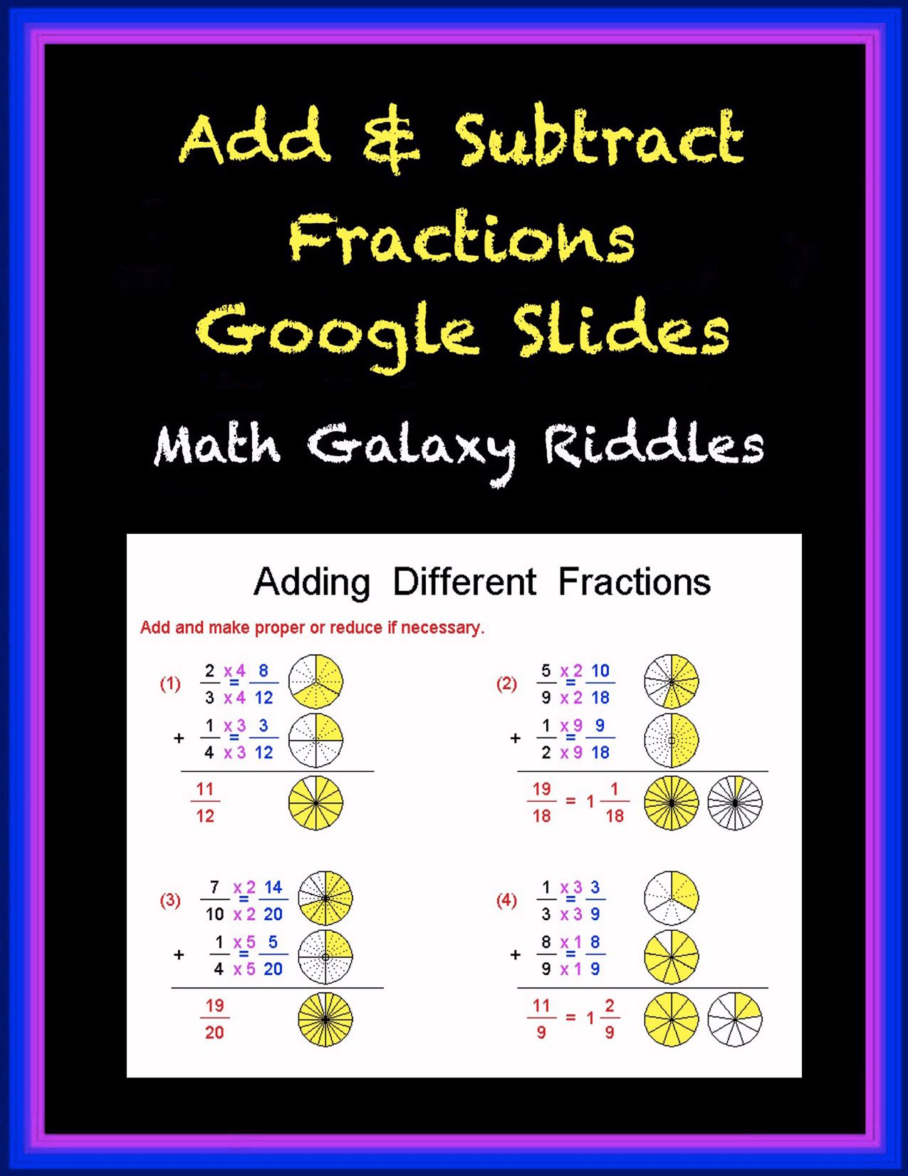 Add Subtract Fractions Google Slides Math Galaxy Distance Learning Add And Subtract Fractions Math Riddles Google Classroom Math Adding and subtracting like fractions