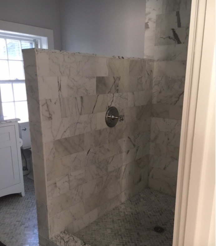 Master Bath After Large Walk In Shower 6 X 12 Marble Tile Herringbone Marble Floor Open No Glass Herringbone Marble Floor Marble Floor Walk In Shower
