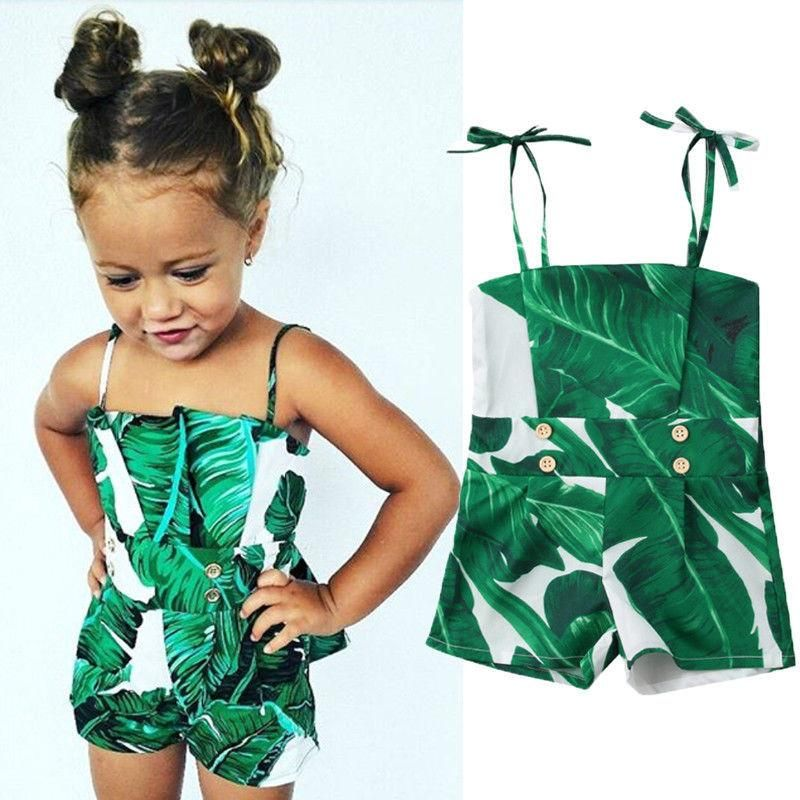 Toddler Kid Baby Girl Summer Flower Green leaf printing Clothes Summer Outfits