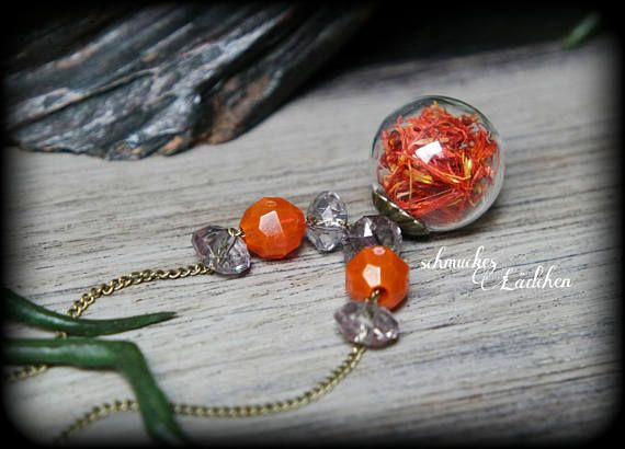 bronze Glaskugel Blüten Kette mit Färberdistelblüten
