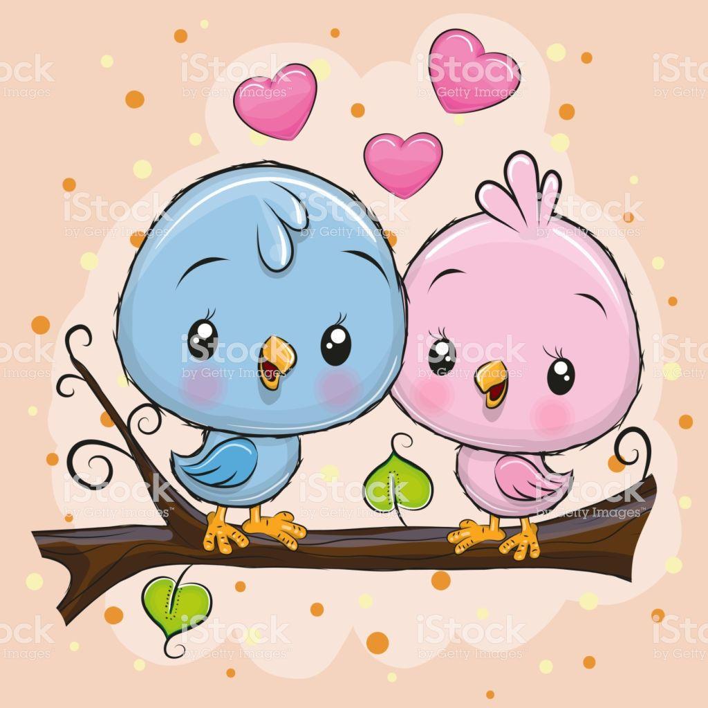 Two Cute Cartoon Birds Is Sitting On A Branch Cute Cartoon Drawings Cute Birds Cartoon Birds