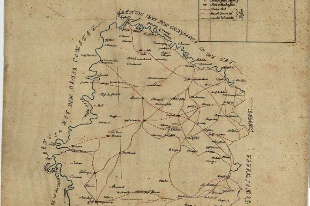 Mapa poštanskih i trgovačkih puteva Torontalskog okruga 1787