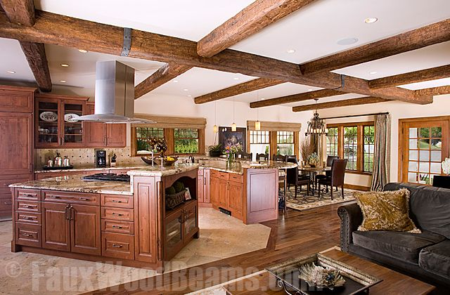 Kitchen Design Idea Photo Gallery Featuring Faux Wood Beams - Beam ceiling design ideas