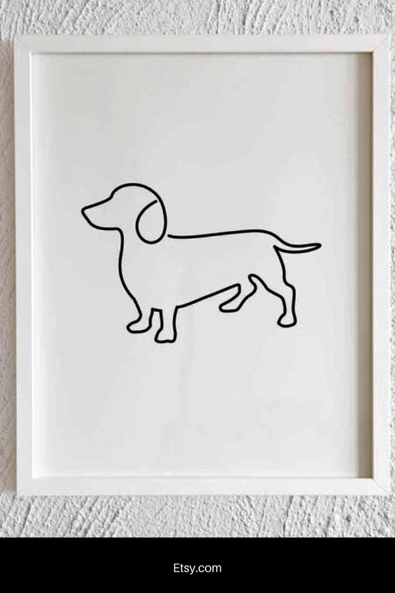 Dachshund Drawing Doodle Print Printable Minimalist Dachshund Etsy In 2020 Dachshund Wall Art Dachshund Drawing Illustration Print