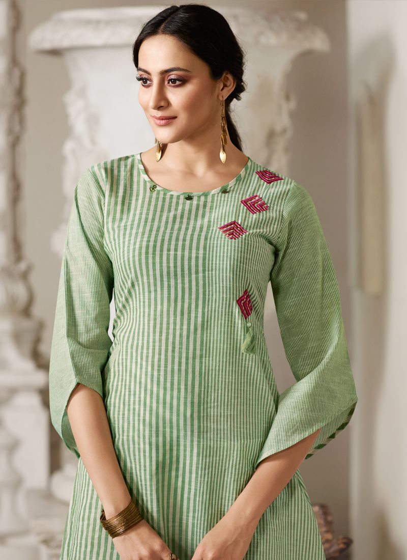 Sea Green Festival Handloom Cotton Party Wear Kurti | Kurti