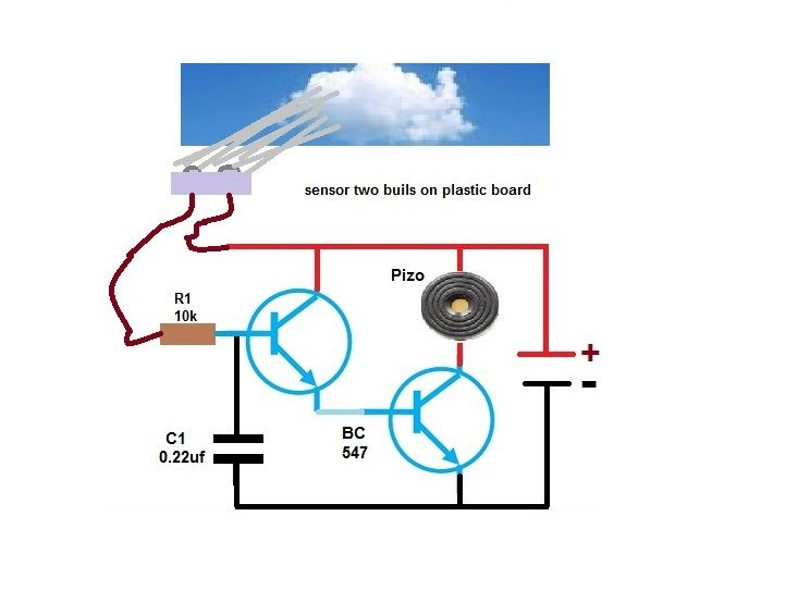 RAIN ALARM CIRCUIT USING TRANSISTORS in 2020 | Rain alarm ...