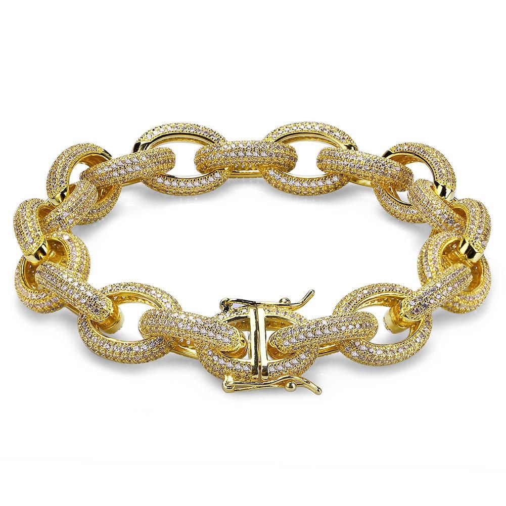 744585d12f107 Hermes link style bracelet/chain 12mm Acrobat fully iced out in 2019 ...