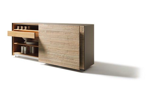 Anrichte cubus pure von TEAM 7 mit Front in Riffholz mit - schlafzimmerschrank mit fernsehfach