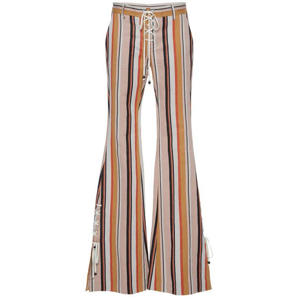 Roberto Cavalli     Variegated Striped Lace Up Flared Pants ($1,505) ❤ liked on Polyvore featuring pants, stripe, lace up pants, striped trousers, stripe pants, flared pants and brown trousers