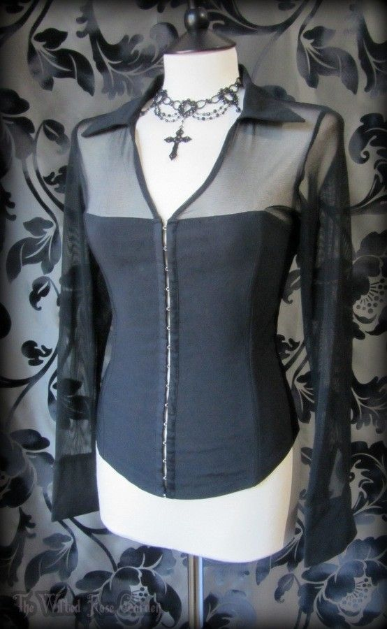 Gorgeous Gothic Black Net Corset Style Top 10 Vampire Victorian Alternative | THE WILTED ROSE GARDEN on eBay // Worldwide Shipping Available