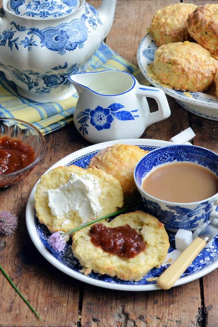 Karen's perfect, fluffy cheese and chive scones are just the thing for a savoury cream tea. Here, she serves her scones with a quick tomato relish and herb and garlic cream cheese spread.