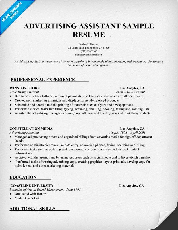 Advertising Assistant Resume Template (resumecompanion) Resume