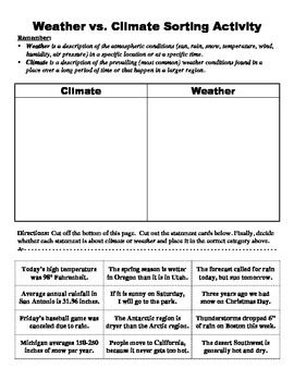 climate vs weather sorting activity science weather vs climate 6th grade science weather. Black Bedroom Furniture Sets. Home Design Ideas