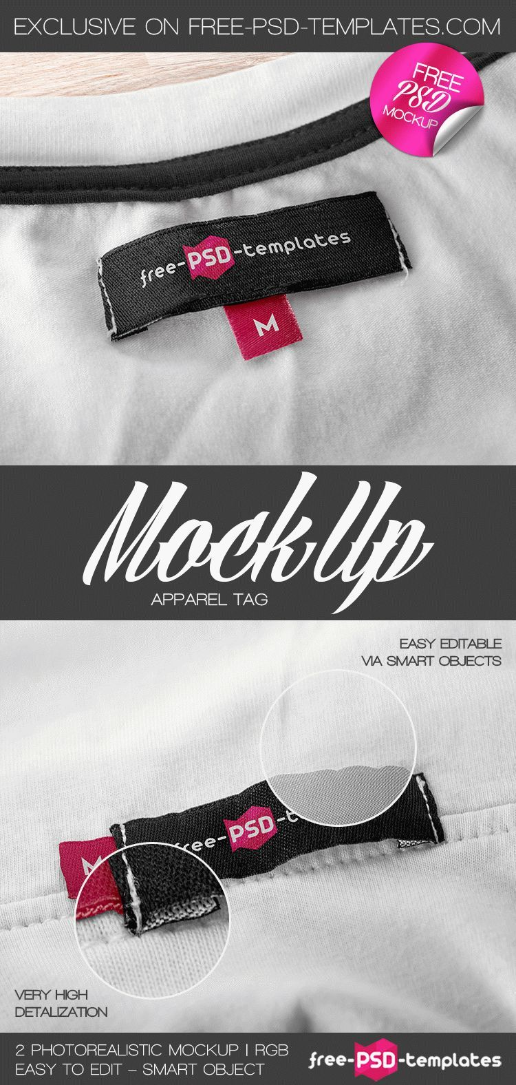 2 Free Apparel Tag Mock-up in PSD | Free PSD Templates | #free ...