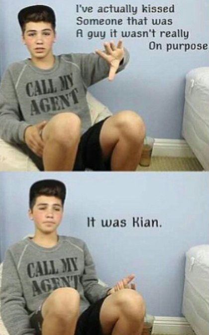 Sam pottorff....... He is not Gay!!!!! But this is funny. He kissed his best friend on accident.