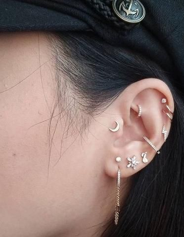 Photo of how to wear cartilage helix hoop pin piercing earrings inspiration idea Jewelry Nickel Free Loop Star Segment Nose Lip Clicker Ring Ear Studs For Women Girls Men Anti Tragus Conch Nose Snug Rook Daith Lobe Auricle2