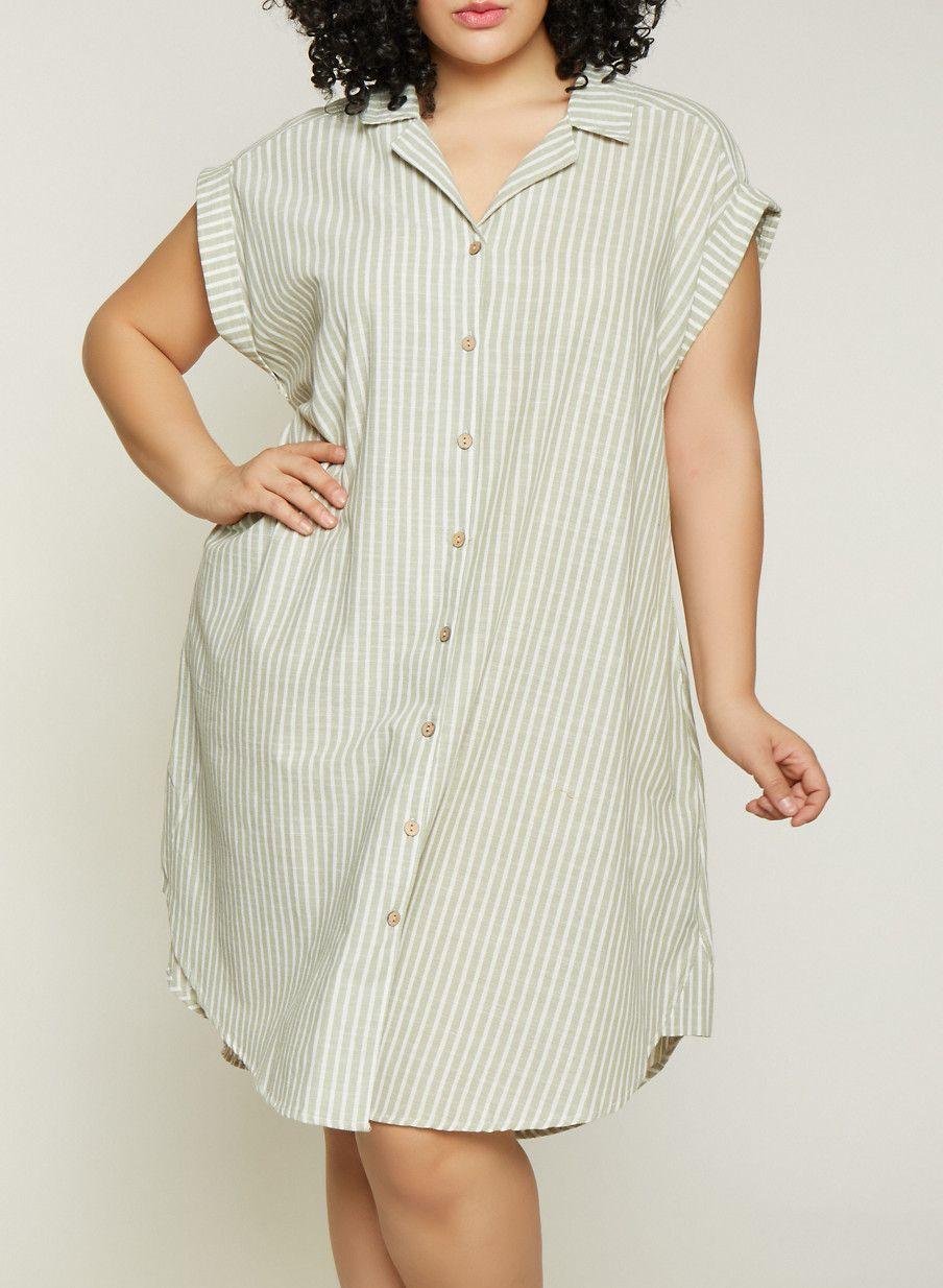 Plus Size Striped Linen Shirt Dress | 1390056121890 ...