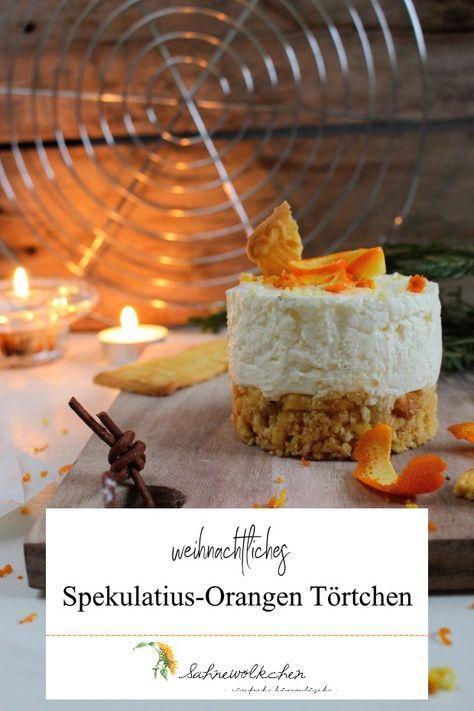 Rezept für Spekulatius Orangen Törtchen / Torte Orange Weihnachten / Rezept Weihnachten Torte #christmascake