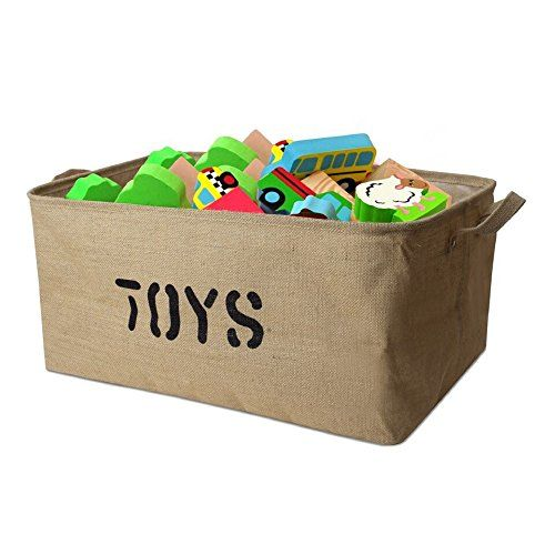 Foldable Jute Cube Boxes Basket Kids Bedroom Playroom Toys Book Storage Basket