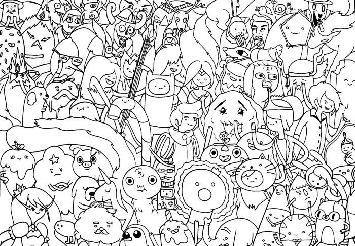 Adventure time all character coloring pages