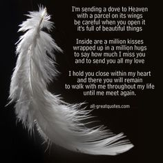 Im Sending A Dove To Heaven In Loving Memory Poem Cards Words