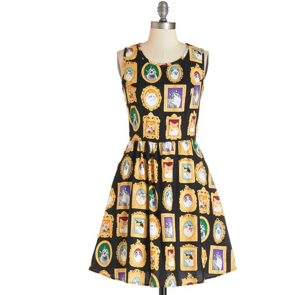 ModCloth Cats Mid-length Sleeveless A-line Mew-seum Visit Dress (€71) ❤ liked on Polyvore featuring dresses, cats, modcloth, frames, lullabies, apparel, fashion dress, multi, sleeveless dress and print dresses