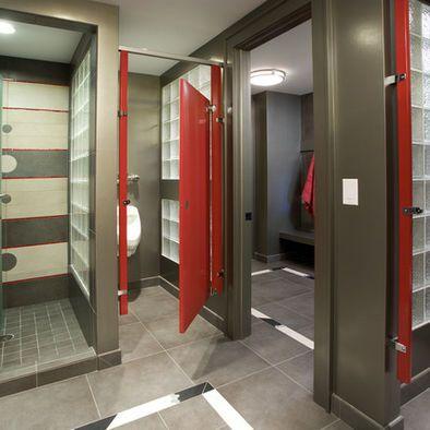 Locker Room Design, pop of color with red. | Restroom design ...