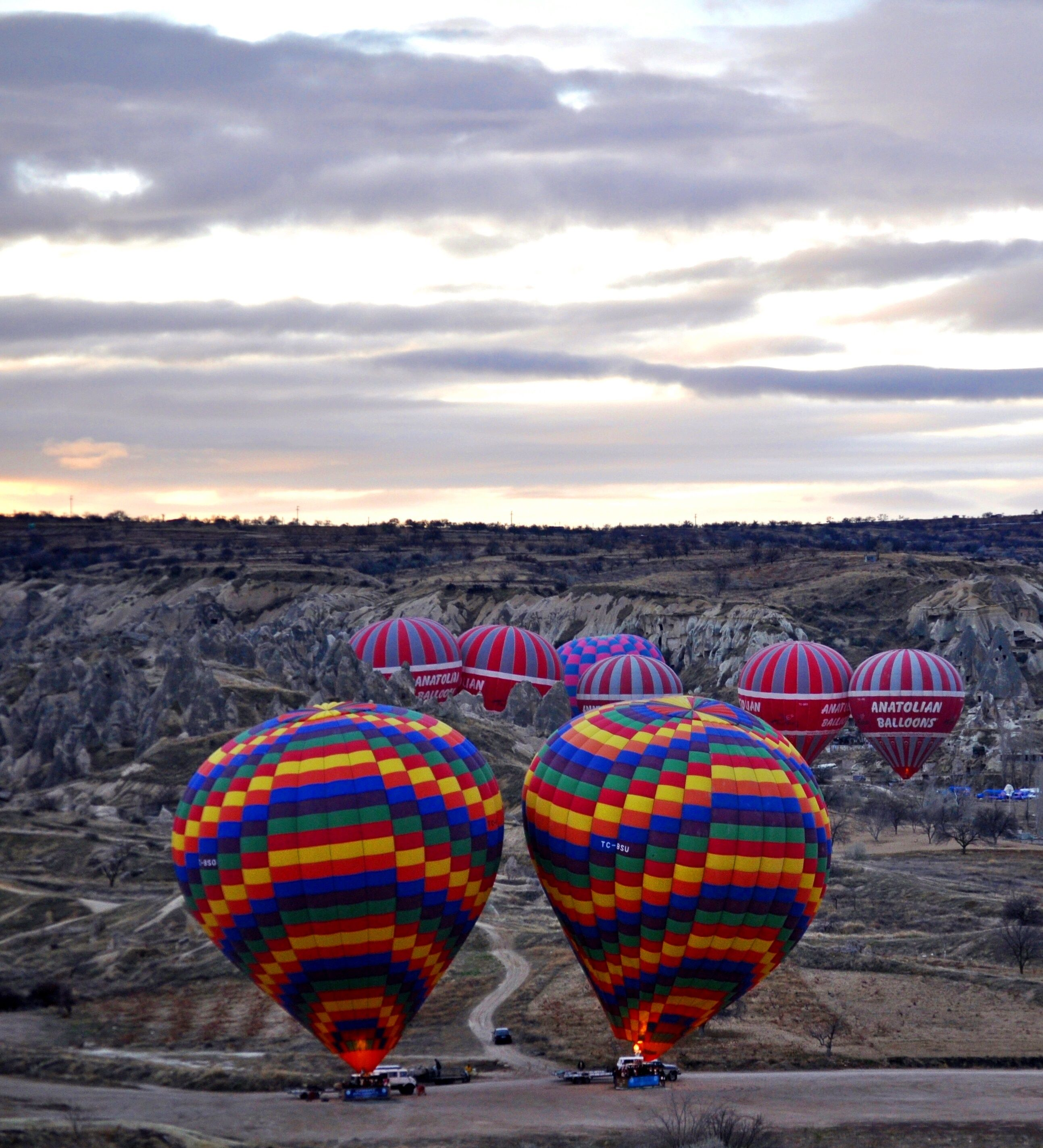 Hot air balloon preparation in Cappadocia Hot air