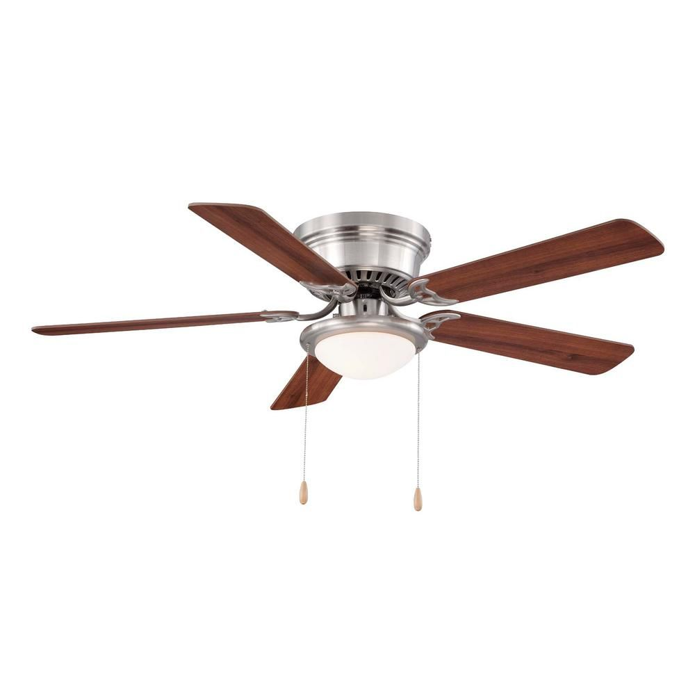 Null hugger 52 in led indoor brushed nickel ceiling fan with light led indoor brushed nickel ceiling fan with light kit al383led bn the home depot aloadofball Images