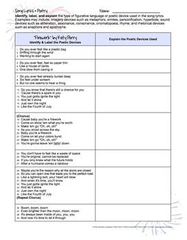 Figurative Language in Songs: Fight Song Activities Editable by ...