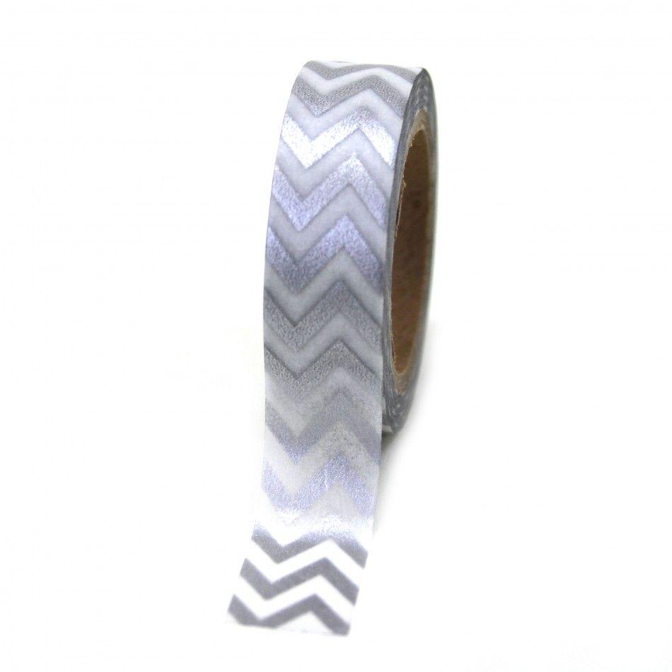 Silver Chevron Stripe Zig Zag Japanese Paper Washi Tape [DMC52025 ...