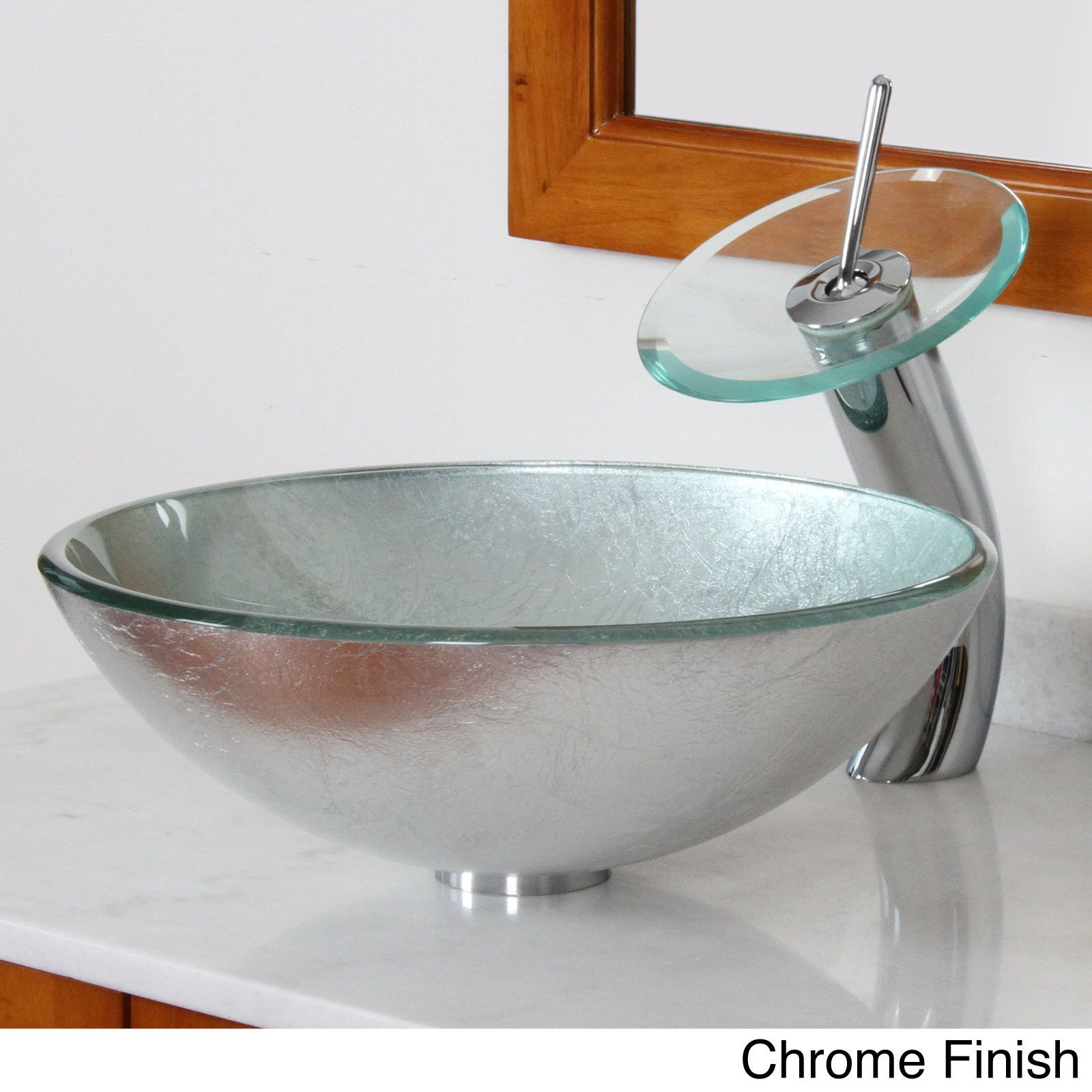 Elite Modern Tempered Glass Bathroom Vessel Sink With Silver