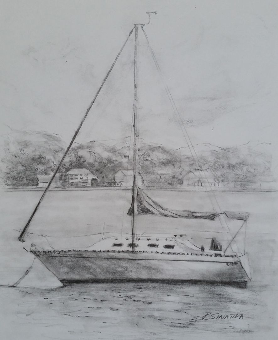 Sail Boat in pencil by Rose Sinatra