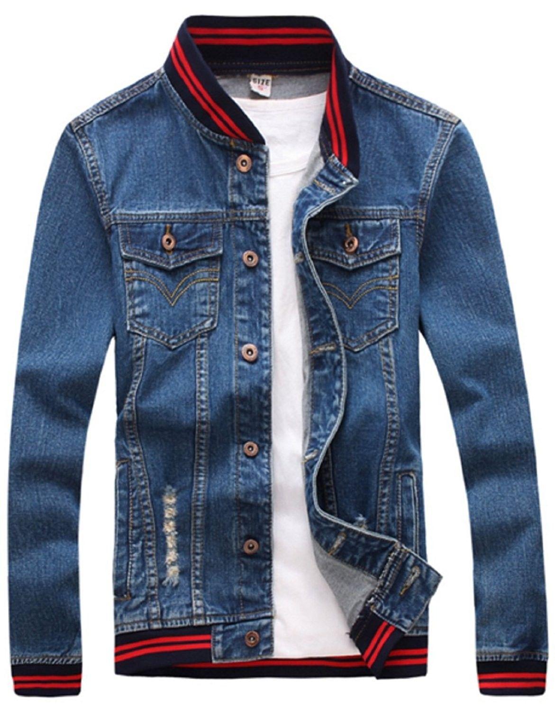 Men s Casual Wear Cotton Denim Jacket - Red Blue - CP185Q0720K in ... 431b59eff0e8