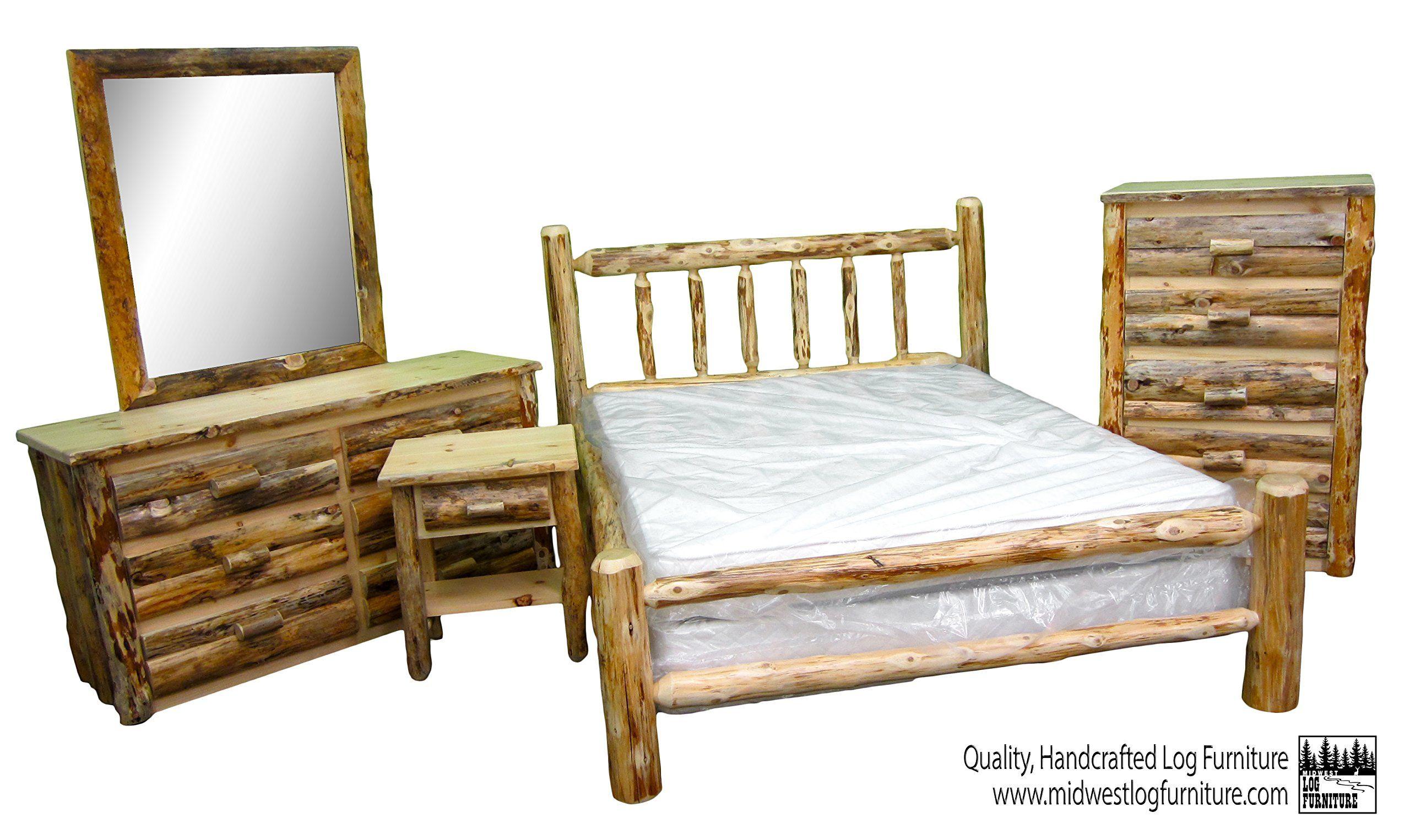 Midwest Log Furniture Rustic Log Bedroom Suite Queen 5pc