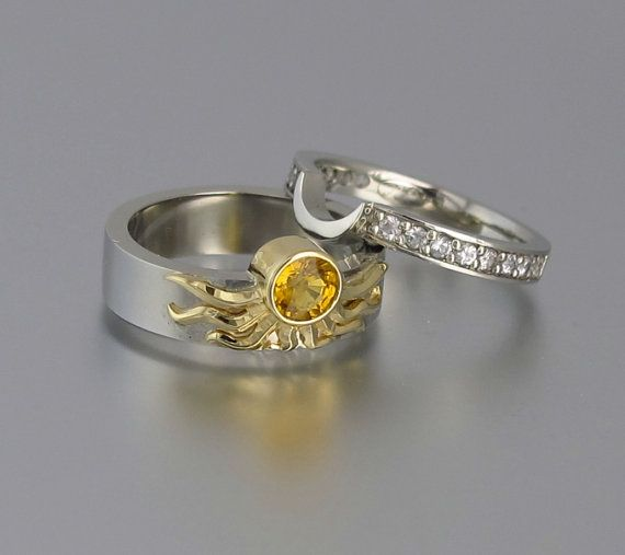 Sun And Moon Eclipse Engagement Ring Set In 18k By Wingedlion
